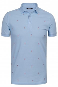 Tricou polo bleu print geometric