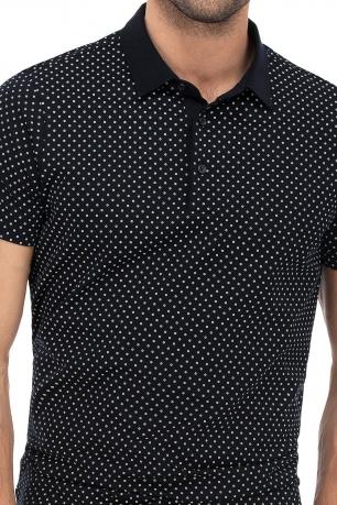 Tricou polo bleumarin print geometric