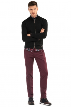 Slim Burgundy Plain Trouser