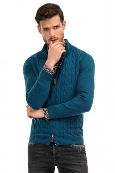 Pulover slim albastru cu fermoar