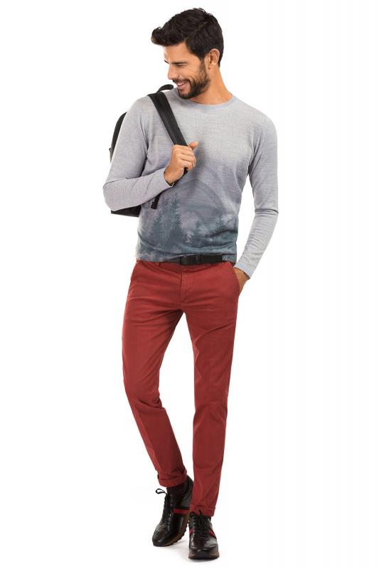 Pantaloni slim rosii uni