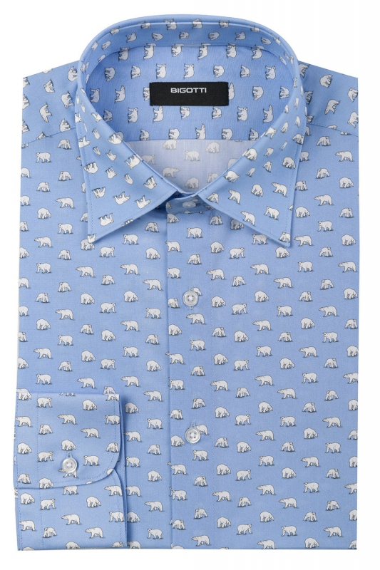 Camasa superslim bleu print geormetric