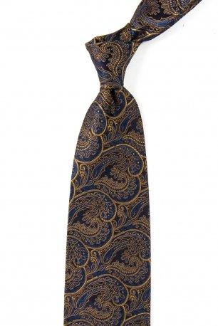 Cravata matase tesuta bleumarin print floral
