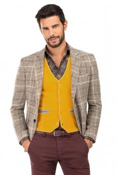Slim Yellow Plain Waistcoat