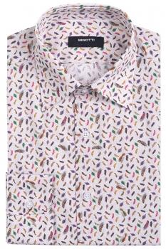 Slim body Beige Geometric Shirt