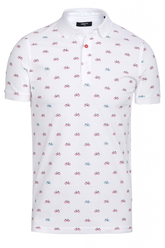 tricou polo alb print geometric