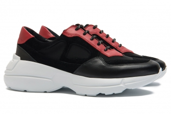 Black genuine leather and neopren Shoes