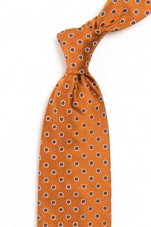 Cravata matase tesuta oranj print floral