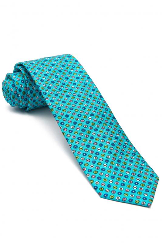 Cravata matase tesuta aqua print floral
