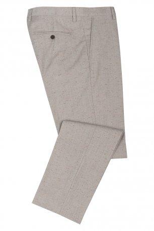 Pantaloni slim conti bej print geometric