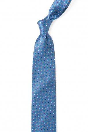 Cravata matase tesuta bleu print geometric