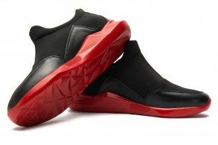 Sneakers negri piele naturala si neopren