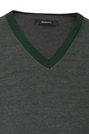 Pulover regular verde in v