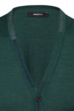 Cardigan regular verde uni