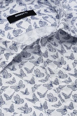 Camasa Shaped din in Alba print Geometric