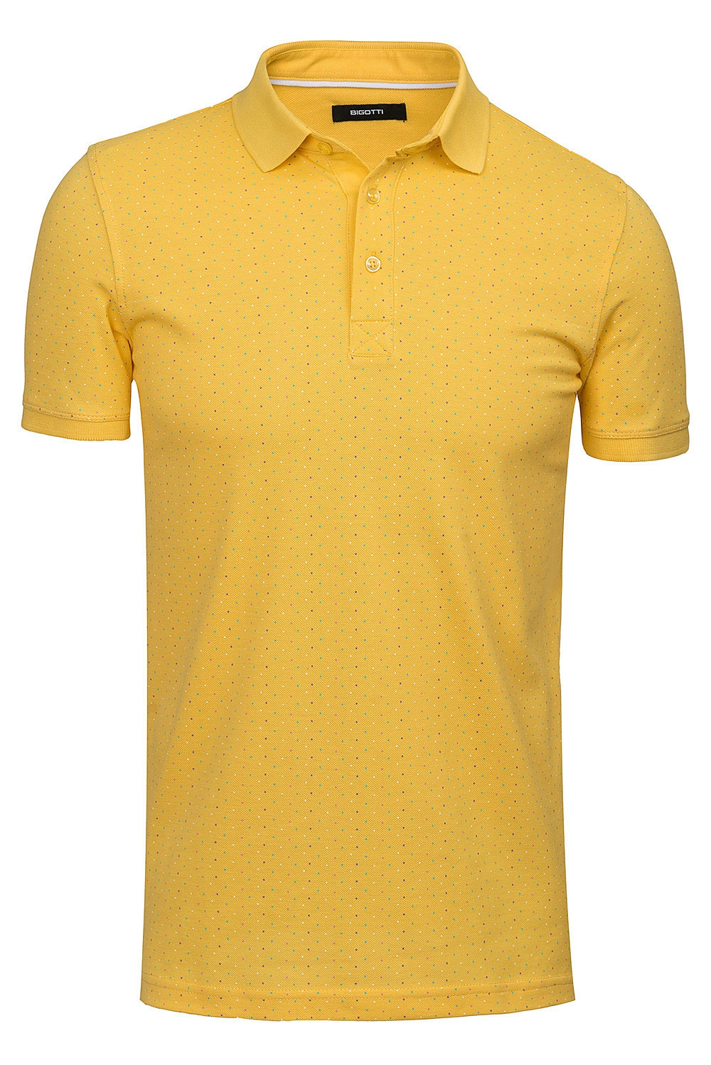 Tricou polo galben microprint 0