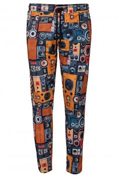 Slim body Orange Geometric Trouser