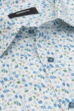 Camasa superslim albastra print floral