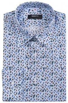 Slim body Light blue Geometric Shirt