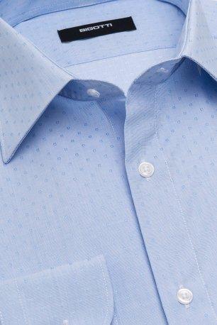 Camasa slim stretch bleu print geometric