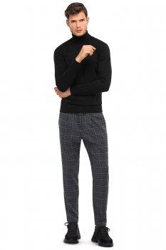 Pantaloni slim gri in carouri