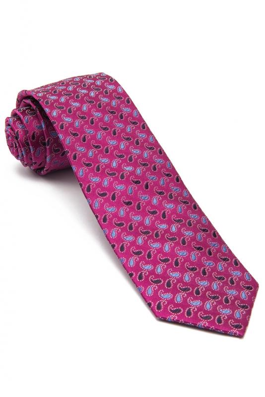Cravata matase tesuta cyclam print floral