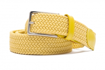 Belt Yellow Elastic textile and leather
