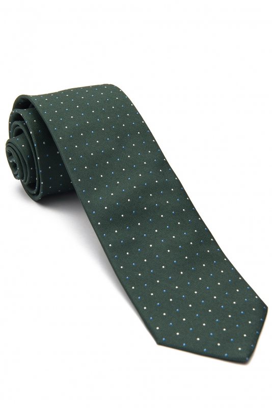 Cravata matase tesuta verde print geometric