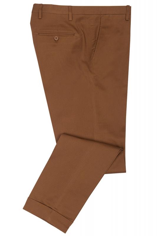 Pantaloni slim maro uni