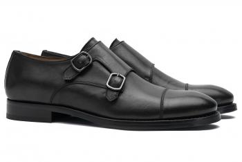 Pantofi monk negri piele naturala