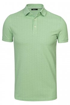 Tricou polo slim verde print geometric