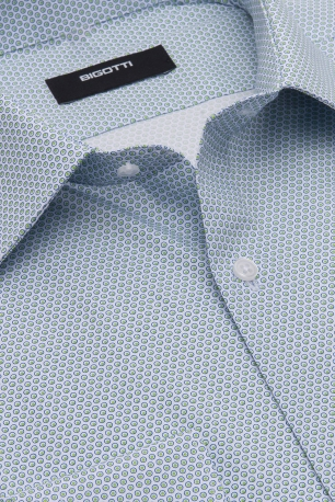 Camasa shaped bleu print geometric