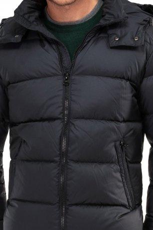 Jacheta  slim neagra cu puf si gluga detasabila