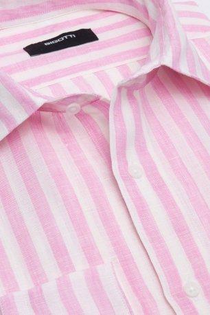 Camasa din in shaped roz cu dungi