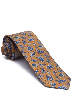 Cravata matase galbena print floral