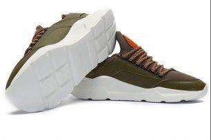 Sneakers verzi piele naturala si textil