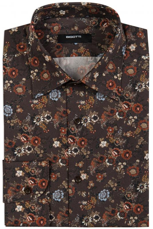 Camasa superslim maro print floral