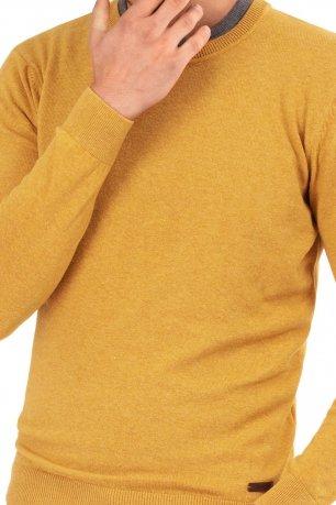 Pulover slim galben uni