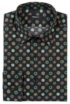 Camasa Superslim neagra print floral