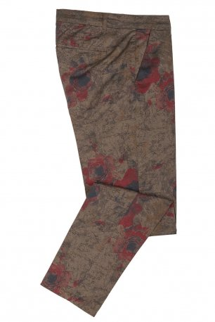 Pantaloni slim kaki print floral
