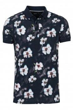 Tricou polo Negru print floral