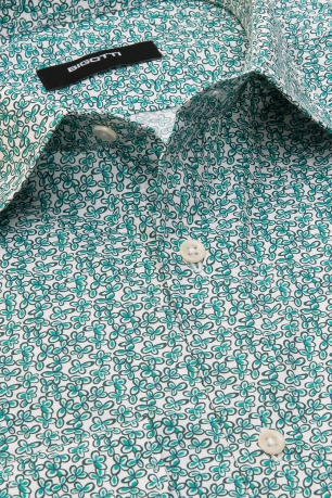 Camasa superslim verde print floral