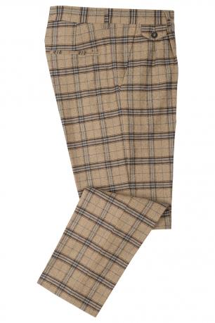 Pantaloni slim bej in carouri