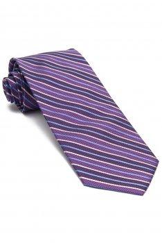 Cravata matase tesuta mov in dungi