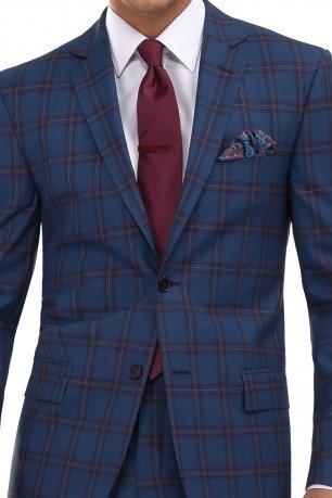 Costum slim ERICO albastru in carouri