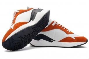 Sneakers albi piele naturala si textil