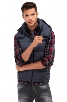 slim navy plain waistcoat