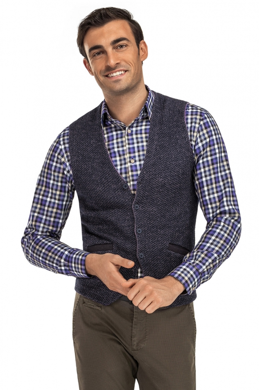 Vesta slim tricotata bleumarin uni