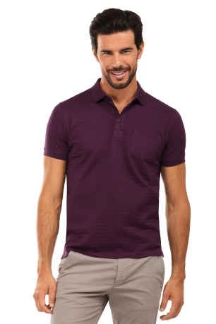 Tricou polo slim mov print geometric