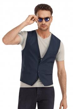 Slim Navy Geometric Waistcoat